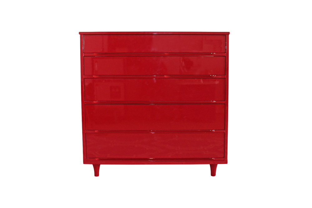 mid century modern dresser after restoration | red lacquered dresser