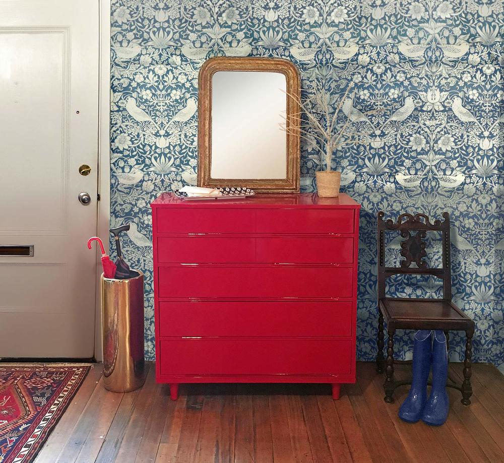 Mid century modern dresser refinished with red lacquer