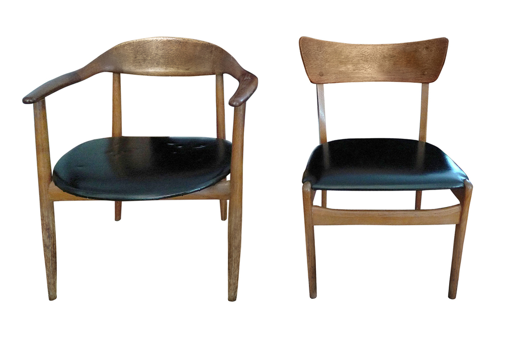 Danish mid century dining chairs before reupholstery and restoration