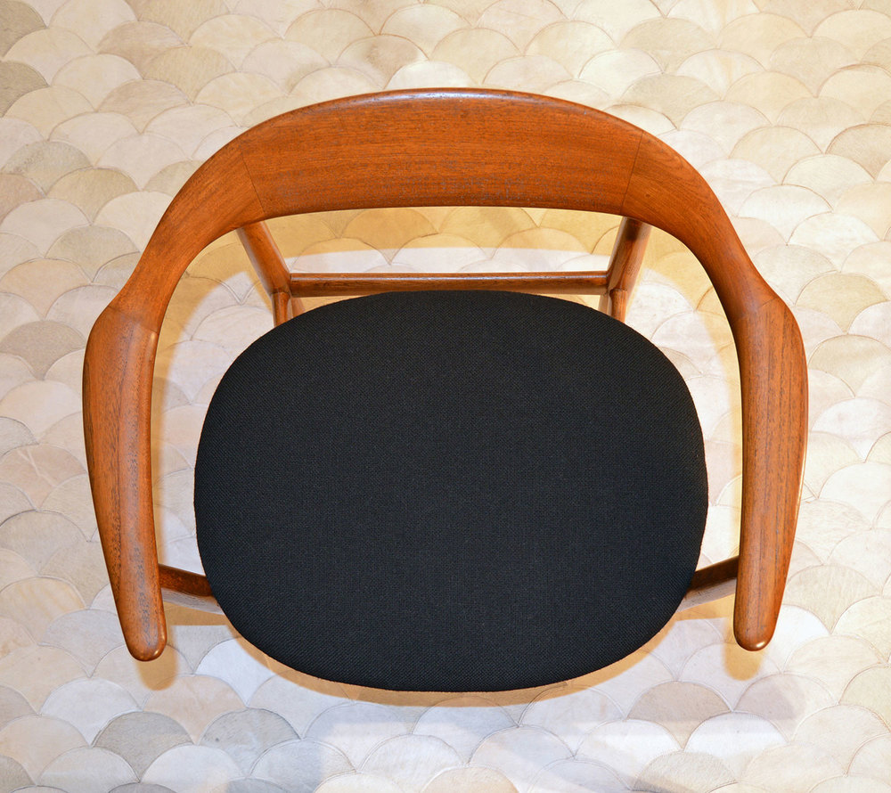 Danish mid century chair after restoration and reupholstery