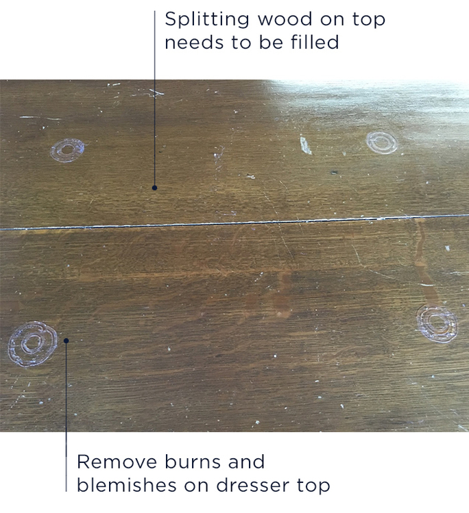 Chipped veneer on antique dresser in need of restoration