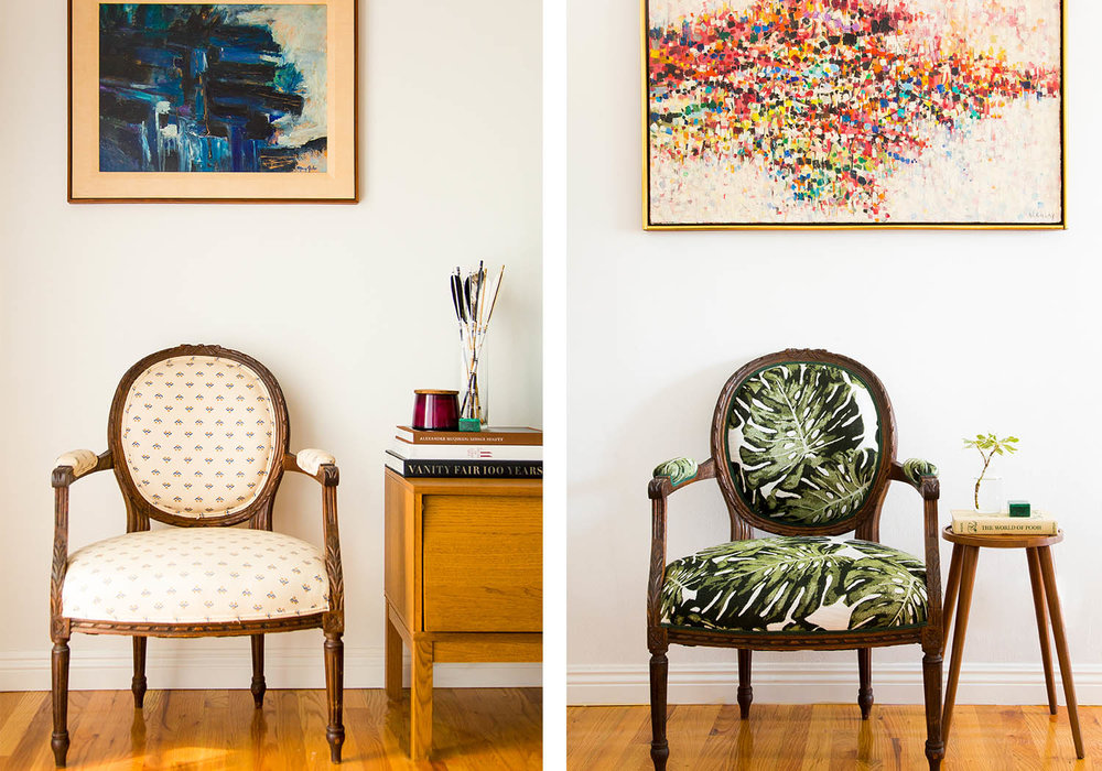 before and after upholstery project with laurel & wolf and revitaliste