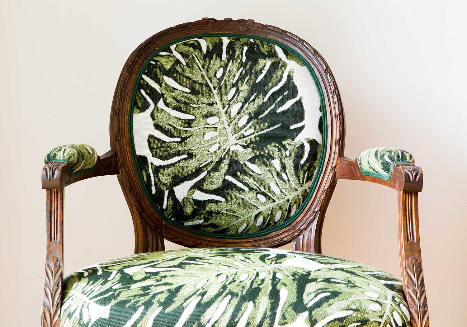 reupholstered antique chair in holly hunt palm upholstery fabric - How This Family Heirloom Became A Contemporary Treasure