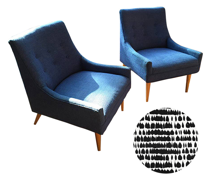 Reupholstering Adrian Pearsall Club Chairs - Truly timeless investment pieces. These club chairs work with any decor.Upholster in an unexpected modern graphic print like Schumacher's Queen of Spain.Craigslist SF - $950