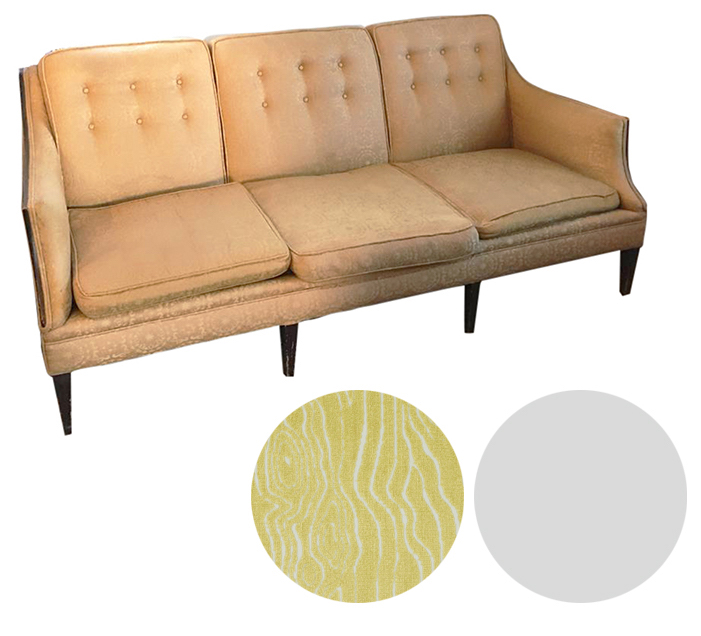 Reupholstering a Mid Century Sofa - Boring beige begging for some excitement.Upholster in a vibrant color with subtle print like Duralee's faux bois pattern in citron. Modernize the frame with a clean white lacquer.Craigslist SF - $250