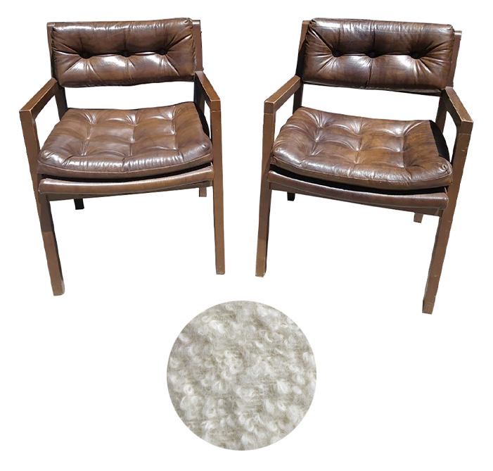 Tufted Faux Leather Armchairs, ready to be reupholstered