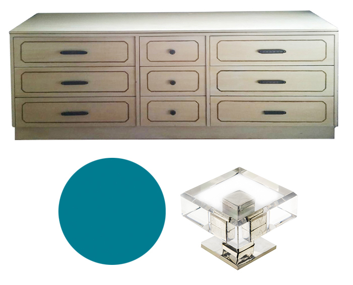 Lacquering a Hollywood Regency Style Dresser - Dorothy Draper would definitely approve of these lines.Lacquer in a cool, inviting color and swap out the heavy hardware with lucite and nickel drawer pulls.Craigslist SF - $200