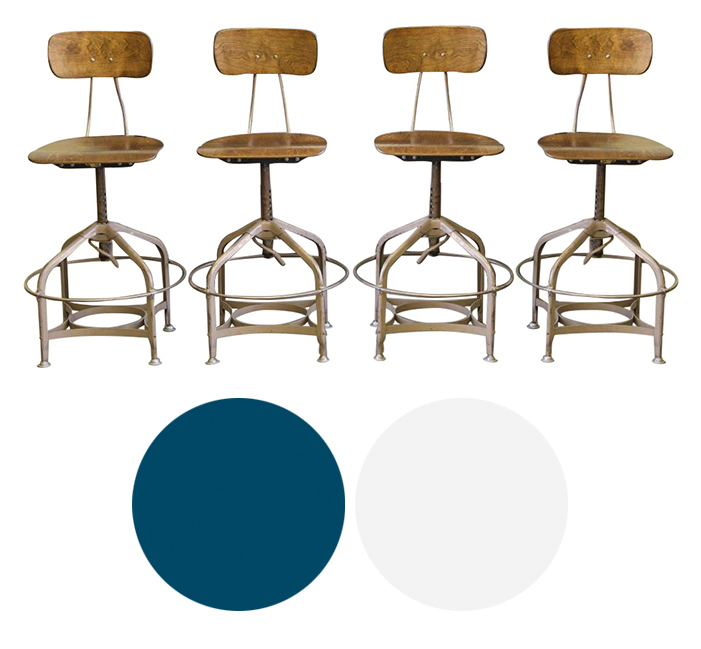 Vintage Drafting Stools Restoration - Industrial chic...and functional!Powder coat metal bases navy and lacquer seats bright white - perfect in a modern kitchenCraigslist SF - $500