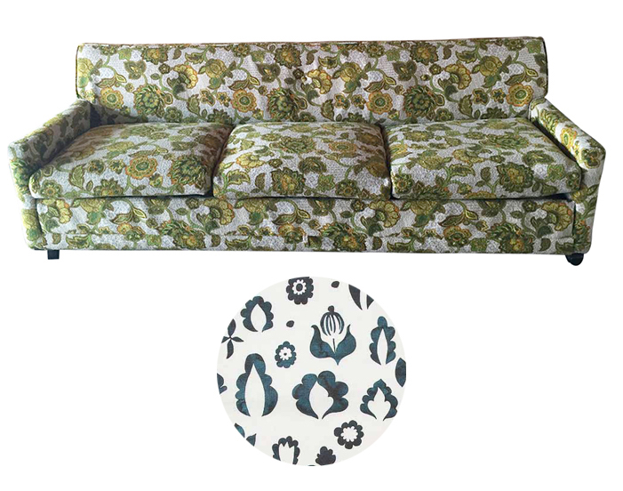 Reupholstering a Vintage 1970s Sofa - 1970s flower power looking for a millennial makeover. Super clean lines make this a timeless piece.Update with a fresh botanical print like Rebecca Atwood's Floral Medallion.Craigslist SF - $395
