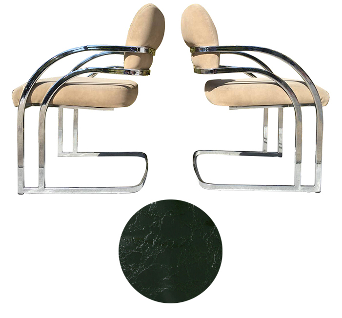 Chrome Cantilevered Chair Restoration - Plain vanilla with huge potential.Turn up the glam by upholstering in patent leather like this billiard green faux croc vinyl.Craigslist SF - $300