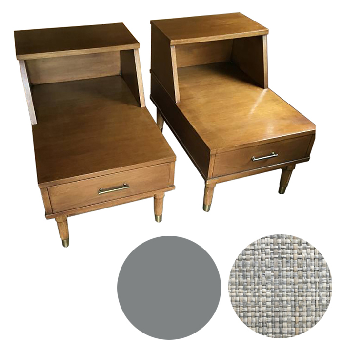 Refinishing Mid Century Modern Side Tables - Pedestrian.Fast track to sophistication - wrap table tops and drawer fronts in tweed-like grasscloth, lacquer in matte grayCraigslist SF - $300