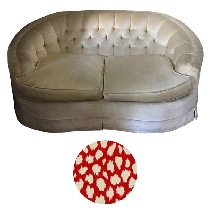 Reupholstering a Tufted Vintage Love Seat - Lumpy and slumpy but nothing a quick nip and tuck can't remedy.Reupholster in a youthful print like Kravet's Leokat. Remove tufting and back channel for a cleaner look.Craigslist SF - $150