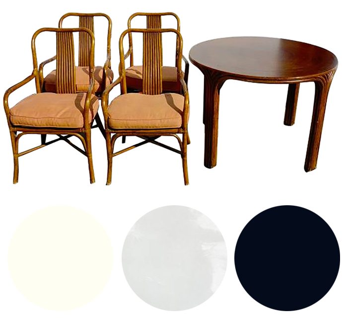 Restoring Rattan Dining Chairs & Table - Tired tikki lounge today - St. Barts bistro tomorrowLacquer rattan table crisp white and chairs glossy black. Reupholster seat cushions in white patent leather with black welt.Craigslist SF - wait for it...$99 for the set