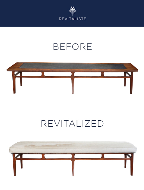 Mid Century Modern Bench - Coffee table converted to an upholstered bench using hair-on cowhide.