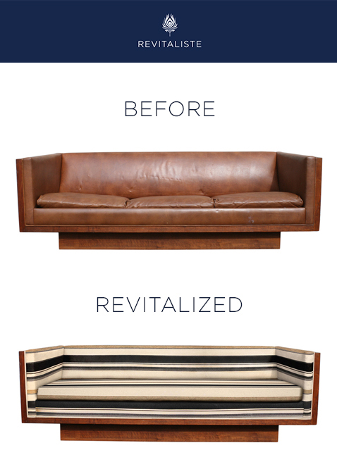"Vintage Plinth Base Sofa: Reupholstered in Casamance ""Accord"" upholstery fabric in 254 color way.   Wood frame and base refinished in medium/dark walnut stain.   Replaced seat cushions with a single bench high-resiliency foam cushion."