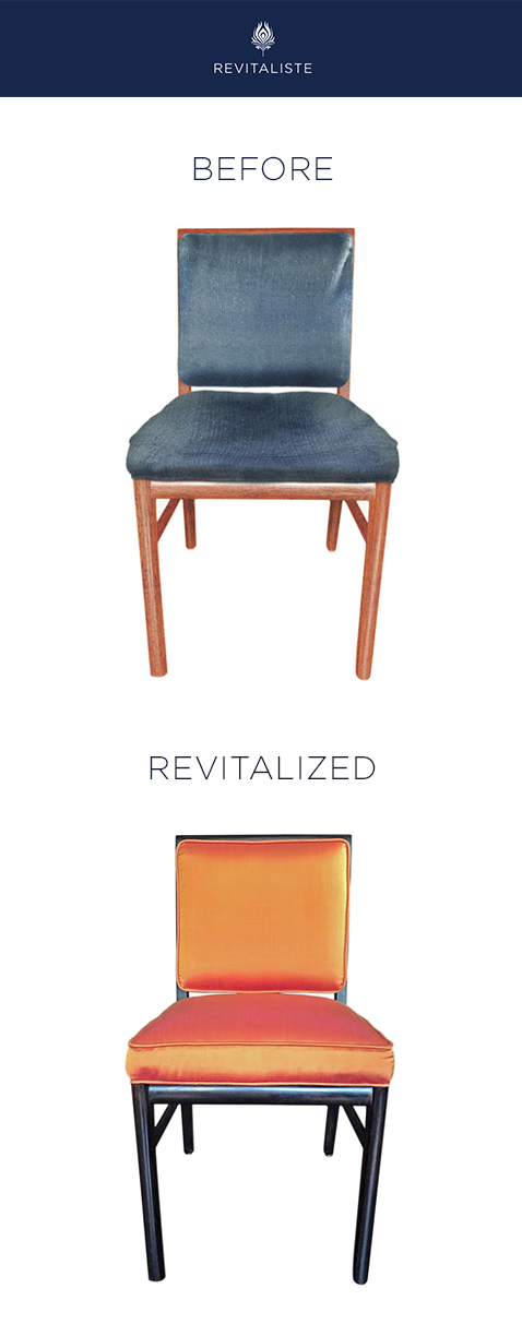 Pair of Occasional Chairs: Reupholstered in orange shantung silk with welted seat and back cushions.  Refinished wood frames in dark mahogany satin finish.