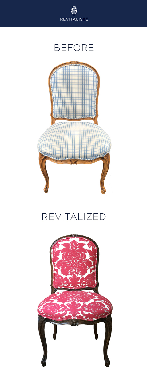 "Antique Desk Chair: Reupholstered in Alessandra Branca for Schumacher ""Melograno"" upholstery fabric in Rose/Grey color way.   Wood frames refinished in Espresso stain with satin finish."