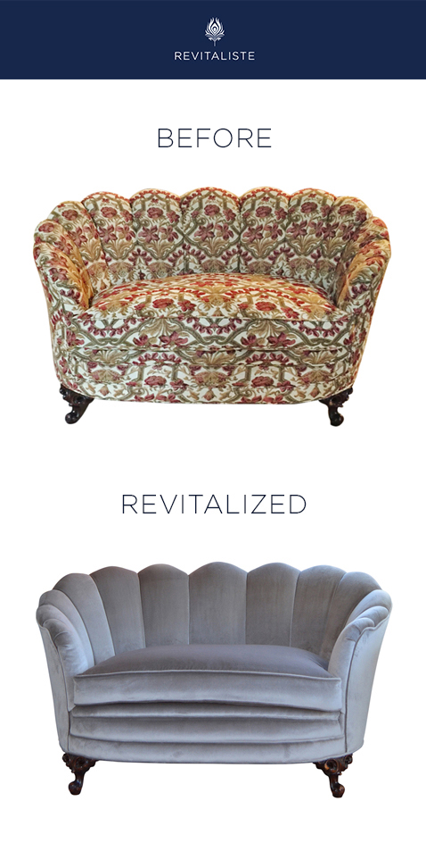 "Scalloped Love Seat: Reupholstered love seat in Perennials ""Plushy"" velvet in Ash color way."