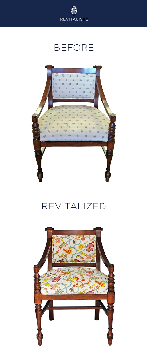 "Antique Mahogany Side Chair: Reupholstered in Raoul Textiles ""Pondicherry"" upholstery fabric."