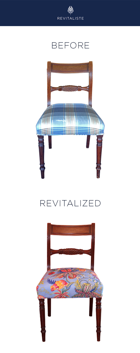 "Antique Desk Chair: Reupholstered in Quadrille ""Jacaranda"" upholstery fabric in Sky color way."