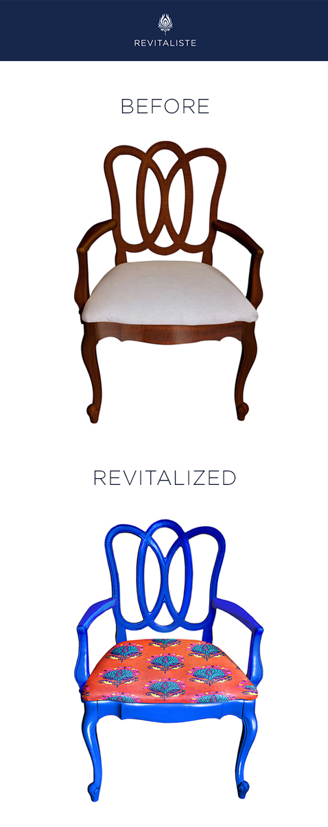 "Set of Traditional Dining Chairs: Reupholstered in Tulu Textiles ""Stella"" upholstery fabric.   Frames refinished in custom cobalt blue lacquer with semi gloss sheen."