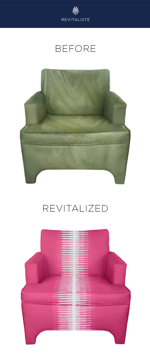 "Pair of Vintage Club Chairs: Reupholstered in Manuel Canovas ""Kazan"" upholstery fabric in Rose Indien color way.   Replaced cushions with high resiliency foam."