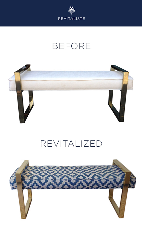 "Brass Frame Bench: Reupholstered in Peter Dunham ""Peterazzi"" upholstery fabric in Indigo color way."