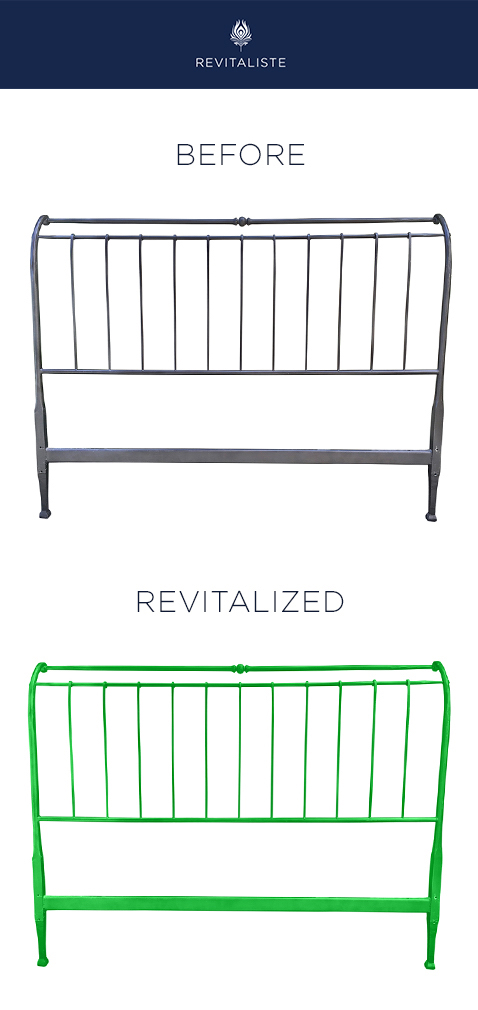 Metal Bedframe: Powder coated metal headboard, footboard and side rails in kelly green.