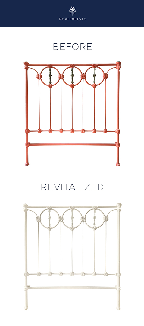 Vintage Brass Headboard:  Stripped and powder coated headboard in clean white.