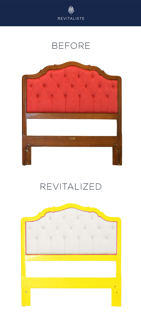 "Pair of Hollywood Regency Twin Headboards: Reupholstered in Ralph Lauren ""Bredbury Silk"" upholstery fabric in Gardenia color way with pink velvet contrast welt.  Refinished wood frames in custom lemon yellow lacquer with semi gloss sheen."