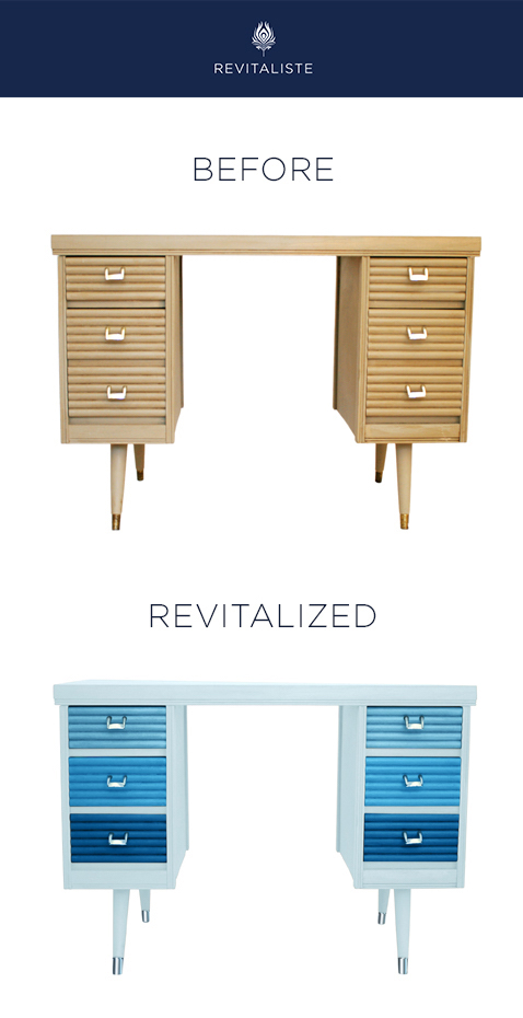 Mid Century Writing Desk: Refinished in ombre shades of blue lacquer in satin sheen.  Hardware re-plated in nickel.