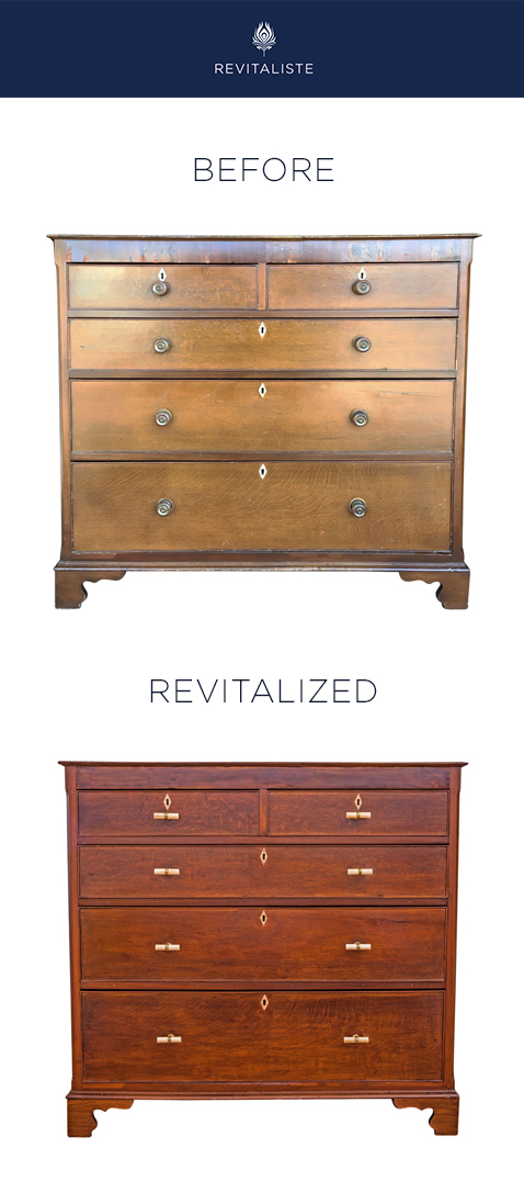 Antique Walnut Dresser: Refinished dresser with medium walnut finish. Removed damaged veneer on dresser front. Repaired chips on dresser corners. Replaced hardware with horn drawer pulls.