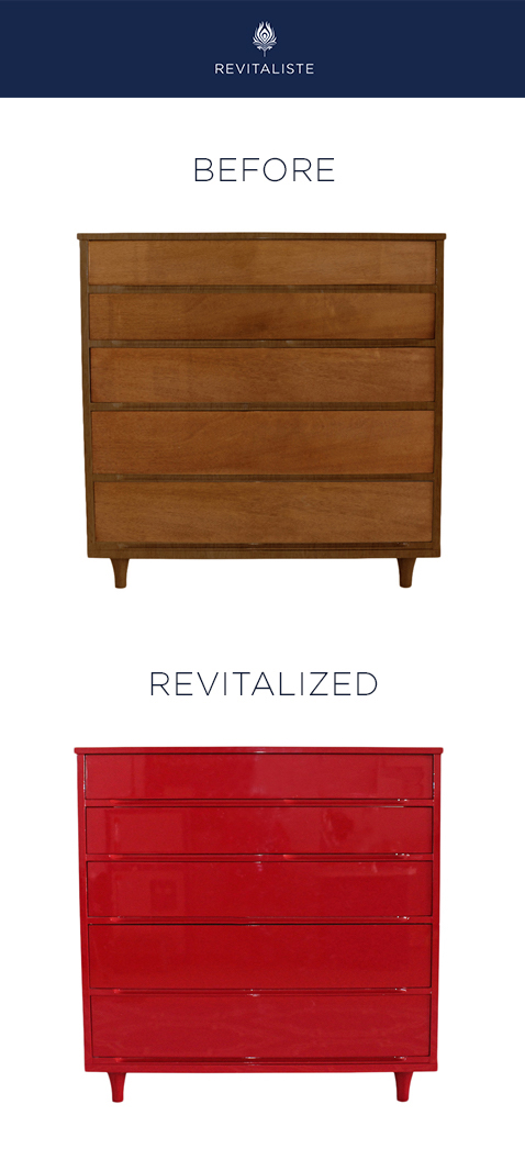 Mid Century Modern Dresser: Refinished in Rosso Corsa (Ferrari Red) automotive paint.