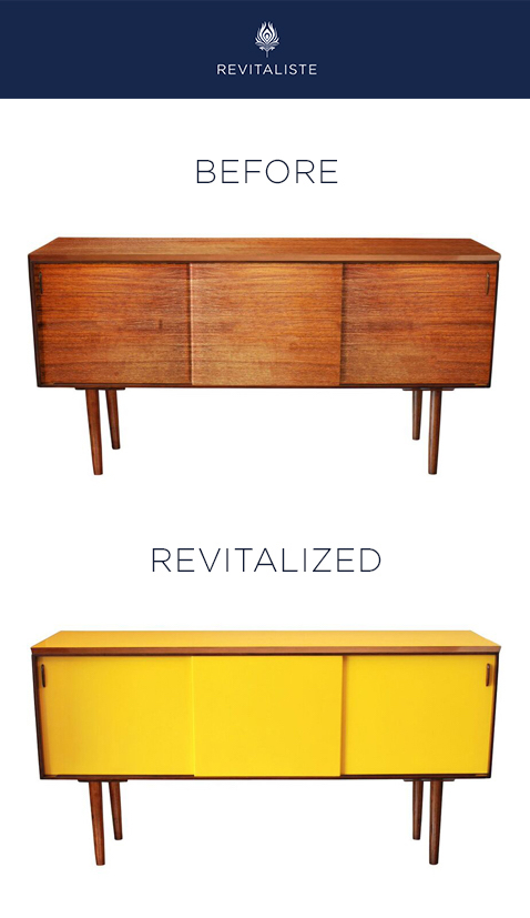 "Danish Mid Century Modern Credenza: Refinished with Ralph Lauren ""Bicycle Yellow"" custom lacquer with dark mahogany bevel trim and legs.  Drawers lined with Katie Ridder ""Attendants"" upholstery fabric."