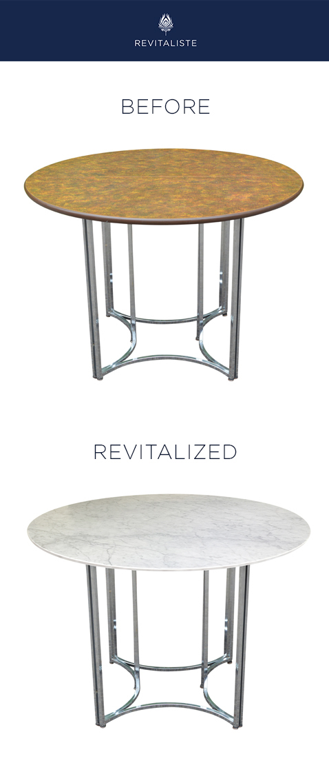 Chrome Base Dining Table: Table top replaced with circular marble top.  Chrome base buffed and restored.