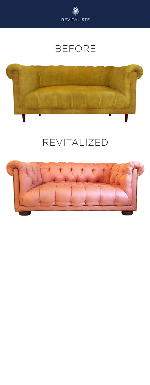 "Chesterfield Sofa: Reupholstered in Donghia ""Lanai"" (Sunbrella) upholstery fabric in Pink color way.  Added tufting and antique brass nail heads.  Replaced sofa legs with mahogany finished bun feet."