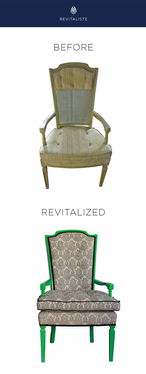 "Vintage Hollywood Regency Dining Chairs: Reupholstered in Madeline Weinreib ""Thistle"" fabric and lacquered custom kelly green."