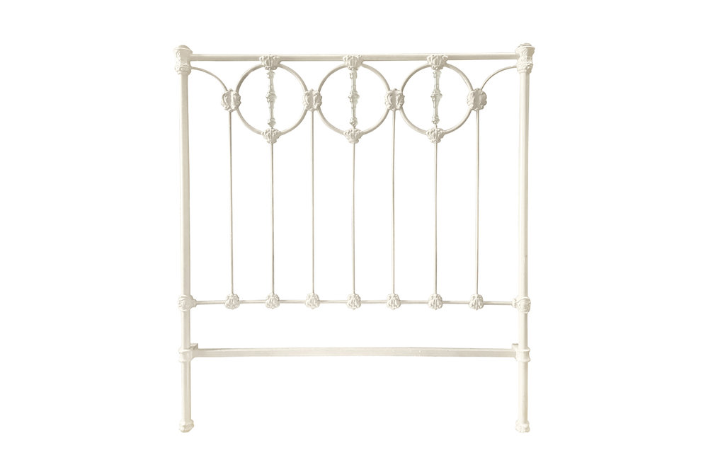 Antique metal bed frame power coated white