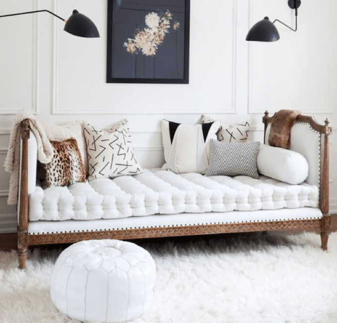 Upholstered white day bed