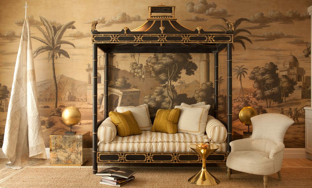 Antique daybed upholstered in slik upholstery fabric | Benjamin Dhong Design San Francisco