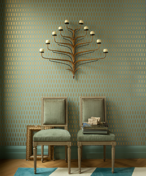 Side chairs reupholstered in green fabric | Benjamin Dhong Design San Francisco