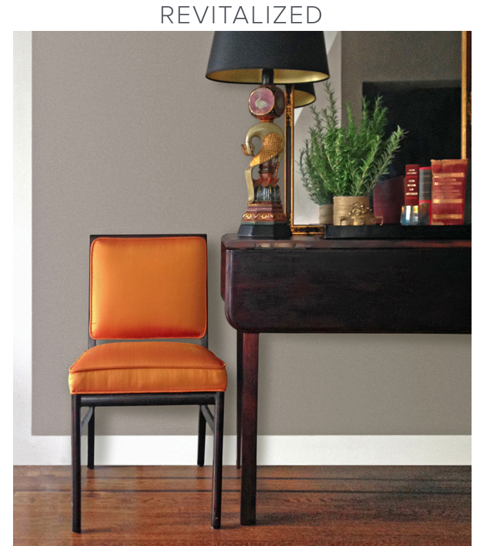 Vintage chair upholstered in orange silk by Revitaliste, San Francisco