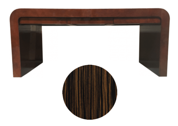 Karl Springer waterfall desk to refinish with macassar ebony