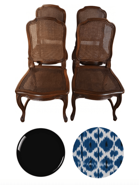 Louis XV style dining chairs to lacquer in high gloss black and upholster with madeline weinrib fabric