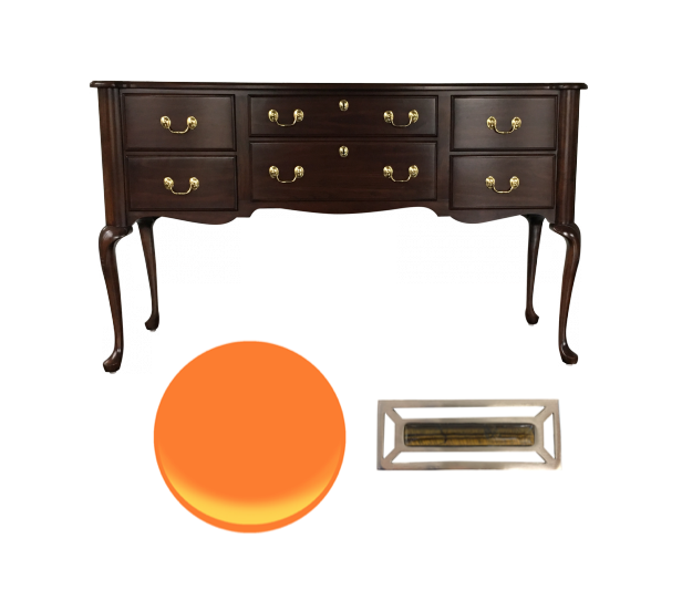 Chippendale style sideboard to lacquer Hermes orange and modernize hardware