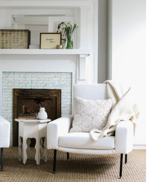 Vintage club chair upholstered in white velvet from Robert Allen