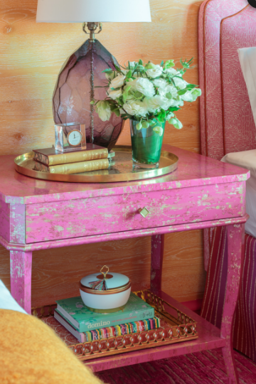 Vintage Nightstand wrapped in wallpaper from Designers Guild