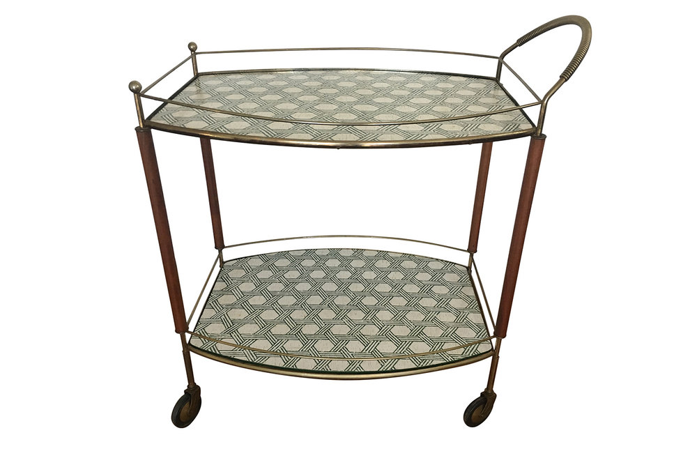 Mid century bar cart with Serena & Lily Cayman Cork wallpaper