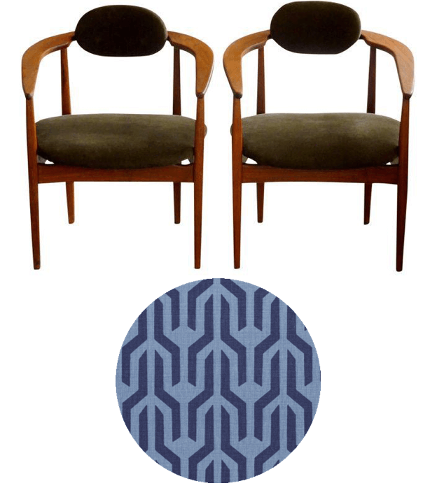 Mid century chairs to be reupholstered in Serena & Lily Kuba upholstery fabric