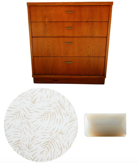 Vintage dresser to be refinished with palm wallpaper and new drawer pulls